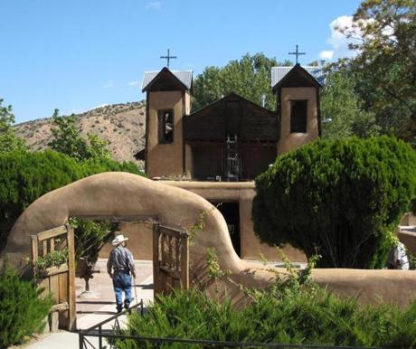 On the drive to Taos, through scenic countryside, Santuario de Chimayo is in a tiny village about 30 minutes north of Santa Fe.